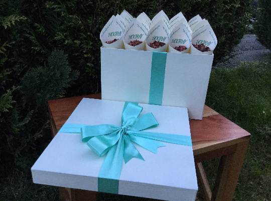 30 HANDMADE CREAM CONFETTI CONES DISPLAYED IN A TIFFANY BLUE RIBBON WRAPPED BOX